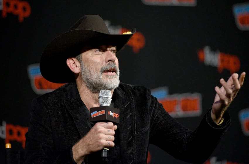 NEW YORK, NY - OCTOBER 06: Jeffrey Dean Morgan speaks onstage during The Walking Dead panel during New York Comic Con at The Hulu Theater at Madison Square Garden on October 6, 2018 in New York City. (Photo by Andrew Toth/Getty Images for New York Comic Con)