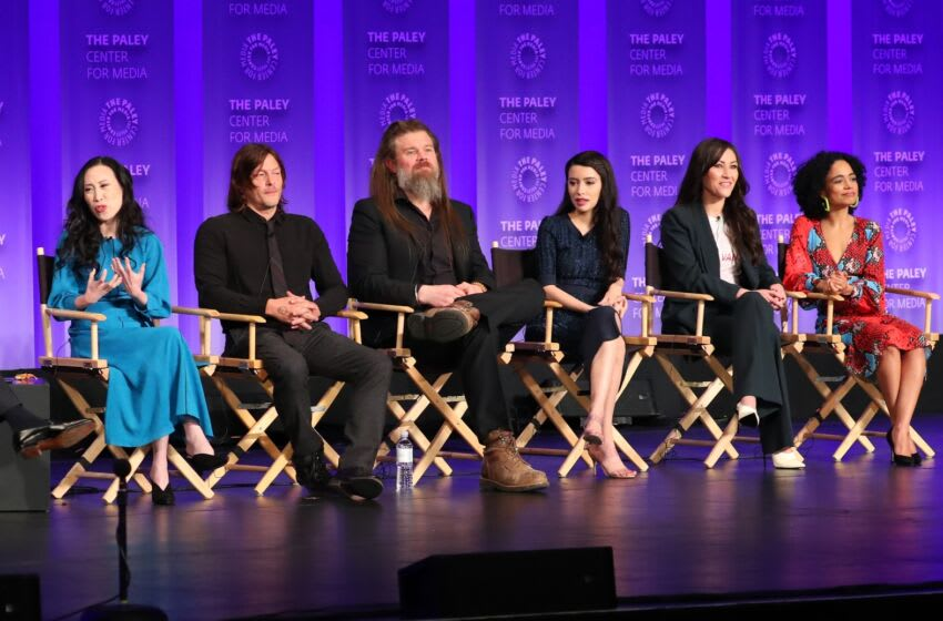 HOLLYWOOD, CA - MARCH 22: Angela Kang, Norman Reedus, Ryan Hurst, Christian Serratos, Eleanor Matsuura and Lauren Ridloff attend the Paley Center for Media's 2019 PaleyFest LA -