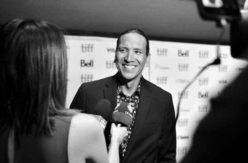 TORONTO, ONTARIO - SEPTEMBER 05: (EDITORS NOTE: Image was shot in black and white. Color version not available.) Michael Greyeyes attends the