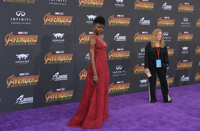LOS ANGELES, CA - APRIL 23: Danai Gurira arrives at the Premiere Of Disney And Marvel's 'Avengers: Infinity War' on April 23, 2018 in Los Angeles, California. (Photo by Neilson Barnard/Getty Images)