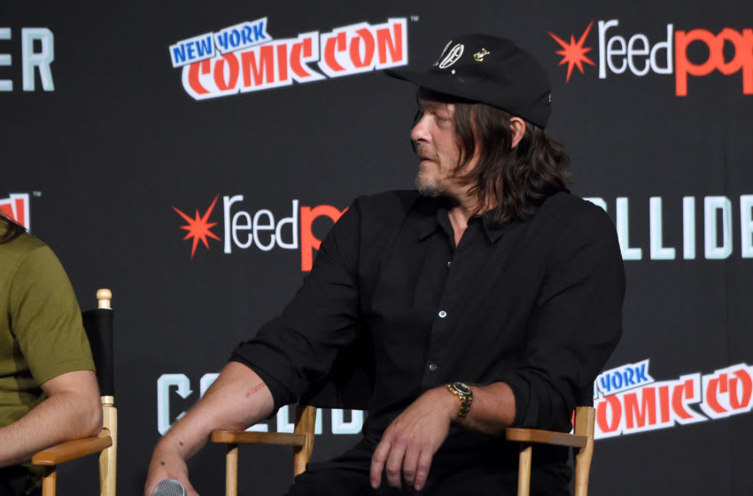 NEW YORK, NY - OCTOBER 07: Norman Reedus speaks onstage during the Comic Con The Walking Dead panel at The Theater at Madison Square Garden on October 7, 2017 in New York City. (Photo by Jamie McCarthy/Getty Images for AMC)