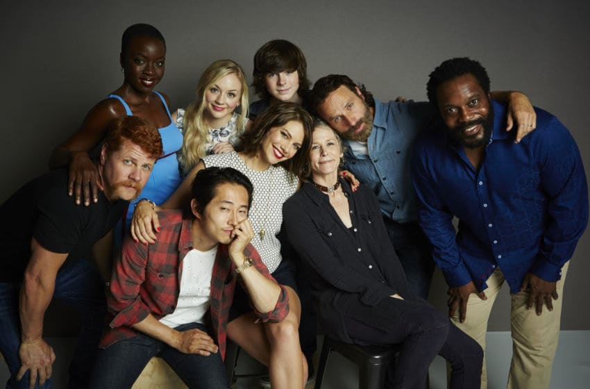 SAN DIEGO, CA - JULY 26: (Top Row L-R) Actors Danai Gurira, Emily Kinney, Chandler Riggs, Andrew Lincoln, Chad Coleman, (Bottom Row L-R) Michael Cudlitz, Steven Yeun, Lauren Cohan, and Melissa McBride poses for a portrait at the Getty Images Portrait Studio powered by Samsung Galaxy at Comic-Con International 2014 at Hard Rock Hotel San Diego on July 26, 2014 in San Diego, California. (Photo by MJ Kim/Getty Images for Samsung)