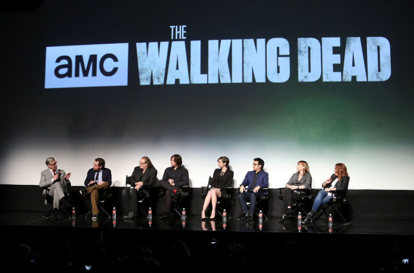 LOS ANGELES, CALIFORNIA - APRIL 11: (L-R) Director Paul Feig, executive producer/writer Scott M. Gimple, executive producer/director Greg Nicotero, actor Norman Reedus, actress Lauren Cohan, editor Dan Liu, casting director Sharon Bialy and casting director Sherry Thomas attend