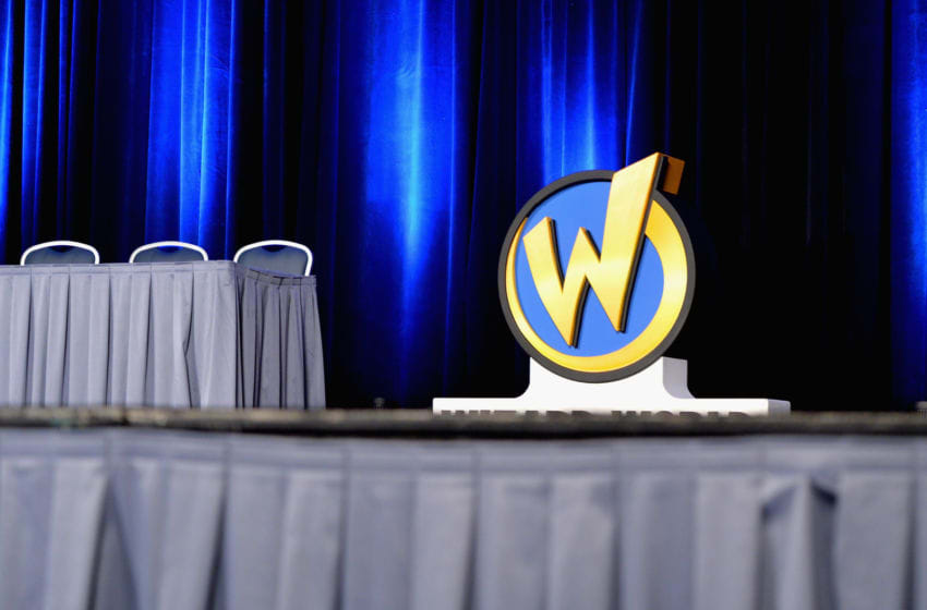 ROSEMONT, IL - AUGUST 20: Wizard World logo on display during Wizard World Comic Con Chicago 2016 - Day 3 at Donald E. Stephens Convention Center on August 20, 2016 in Rosemont, Illinois. (Photo by Daniel Boczarski/Getty Images for Wizard World)