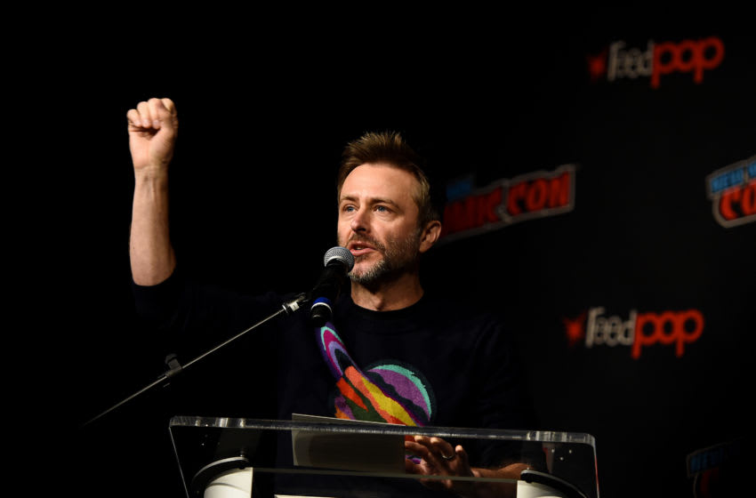 NEW YORK, NEW YORK - OCTOBER 05: Chris Hardwick speaks onstage during The Walking Dead Universe, Including AMC's Flagship Series and the Untitled New Third Series Within The Walking Dead Franchise at New York Comic Con 2019 Day 3 at Hulu Theater at Madison Square Garden October 05, 2019 in New York City. (Photo by Ilya S. Savenok/Getty Images for ReedPOP )