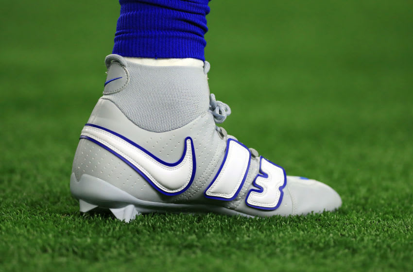 ARLINGTON, TX - SEPTEMBER 16: The custom nike shoes worn by Odell Beckham Jr. #13 of the New York Giants during warm ups before the game against the Dallas Cowboys at AT&T Stadium on September 16, 2018 in Arlington, Texas. (Photo by Tom Pennington/Getty Images)