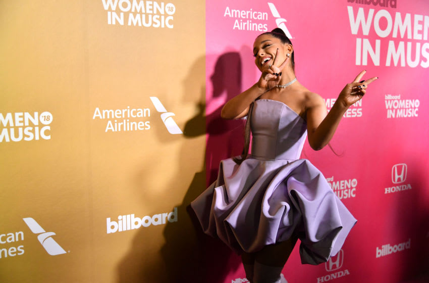 NEW YORK, NEW YORK - DECEMBER 06: Singer Ariana Grande attends the Billboard Women In Music 2018 on December 06, 2018 in New York City. (Photo by Mike Coppola/Getty Images for Billboard )