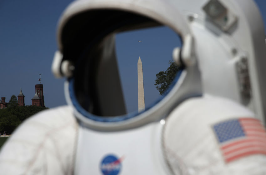 WASHINGTON, DC - JULY 19: A replica of a spacesuit is on display during the Apollo 50 Festival at the National Mall July 19, 2019 in Washington, DC. It marks the 50th anniversary on Saturday, July 20, 2019, that the U.S. had first landed humans on the surface of the moon through the Apollo 11 mission. (Photo by Alex Wong/Getty Images)