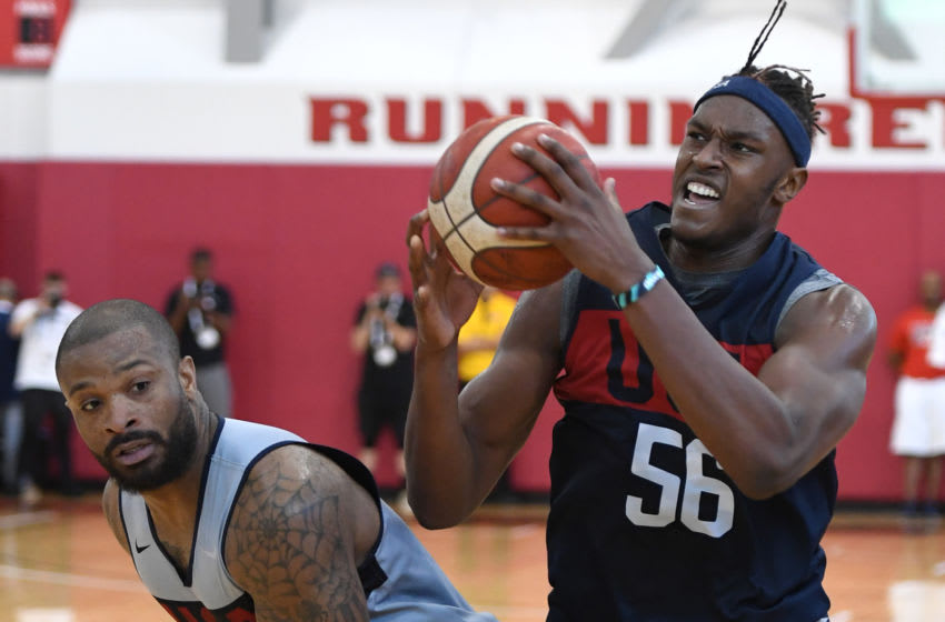 LAS VEGAS, NEVADA - AUGUST 05: Myles Turner #56 of the 2019 USA Men's National Team drives against P.J. Tucker #44 of the 2019 USA Men's National Team during a practice session at the 2019 USA Basketball Men's National Team World Cup minicamp at the Mendenhall Center at UNLV on August 5, 2019 in Las Vegas, Nevada. (Photo by Ethan Miller/Getty Images)