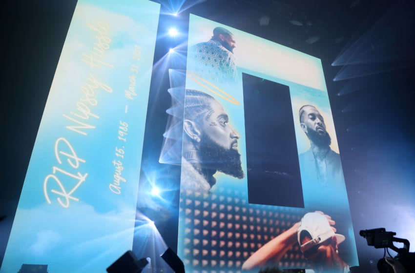 LOS ANGELES, CALIFORNIA - AUGUST 12: Nipsey Hussle tribute during SUMMERSFEST 2019 at The Novo by Microsoft on August 12, 2019 in Los Angeles, California. (Photo by Jerritt Clark/Getty Images for 10Summers Records)