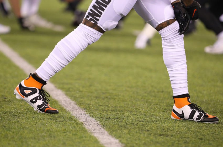 EAST RUTHERFORD, NEW JERSEY - SEPTEMBER 16: A detail view of the Nike Vapor OBJ Uptempo cleats worn by Odell Beckham Jr. #13 of the Cleveland Browns are seen in the first quarter against the New York Jets during their game at MetLife Stadium on September 16, 2019 in East Rutherford, New Jersey. (Photo by Al Bello/Getty Images)