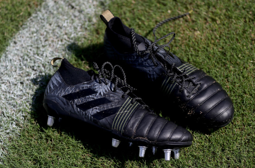 TOKYO, JAPAN - SEPTEMBER 17: A pair of All Blacks adidas boots during a New Zealand All Blacks Rugby World Cup Training Session at Tatsuminomori Seaside Park 2 on September 17, 2019 in Tokyo, Japan. (Photo by Hannah Peters/Getty Images)