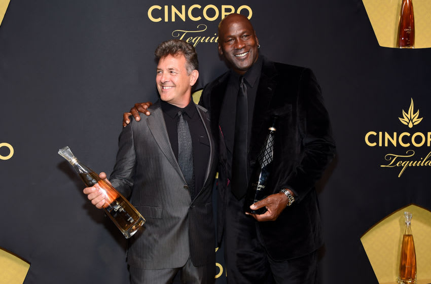 NEW YORK, NEW YORK - SEPTEMBER 18: Mark Smith and Cincoro founding partner Michael Jordan the Cincoro Tequila launch at CATCH Steak on September 18, 2019 in New York City. (Photo by Jamie McCarthy/Getty Images for Cincoro)