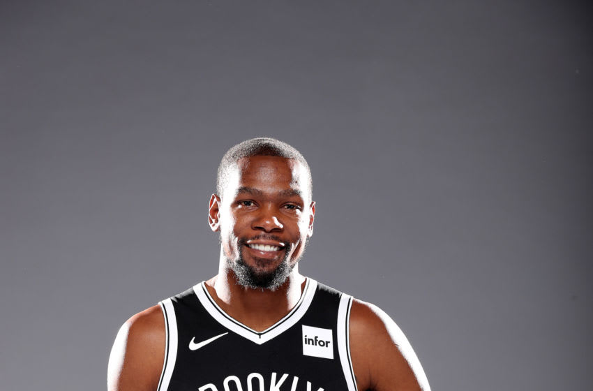 NEW YORK, NEW YORK - SEPTEMBER 27: Kevin Durant #7 of the Brooklyn Nets poses for a portrait during Media Day at HSS Training Center on September 27, 2019 in New York City. (Photo by Al Bello/Getty Images)