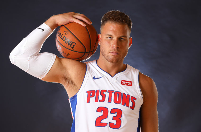 AUBURN HILLS, MICHIGAN - SEPTEMBER 30: Blake Griffin #23 of the Detroit Pistons poses for a portrait during the Detroit Pistons Media Day at Pistons Practice Facility on September 30, 2019 in Auburn Hills, Michigan. (Photo by Gregory Shamus/Getty Images)
