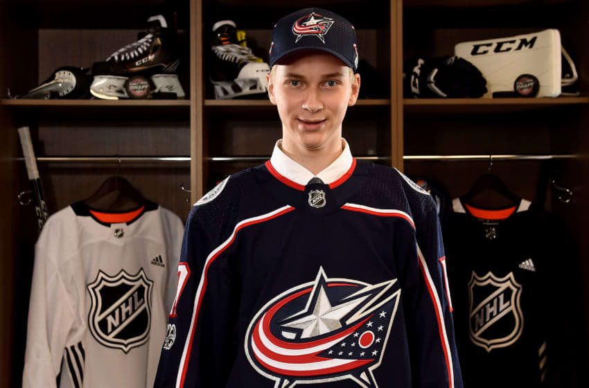 CHICAGO, IL - JUNE 24: Daniil Tarasov poses for a portrait after being selected 86th overall by the Columbus Blue Jackets during the 2017 NHL Draft at the United Center on June 24, 2017 in Chicago, Illinois. (Photo by Stacy Revere/Getty Images)