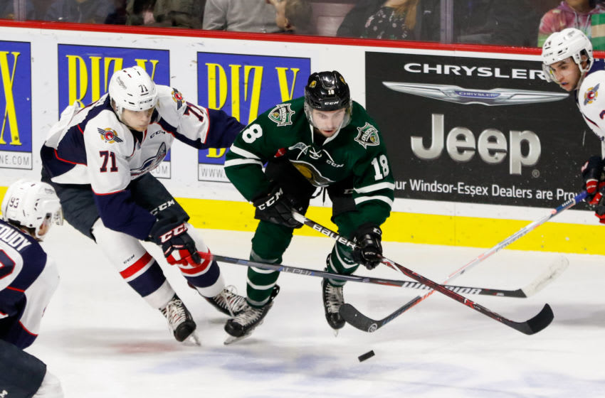 WINDSOR, ON - OCTOBER 04: Forward Liam Foudy #18 of the London Knights moves the puck against defenceman Lev Starikov #71 of the Windsor Spitfires on October 4, 2018 at the WFCU Centre in Windsor, Ontario, Canada. (Photo by Dennis Pajot/Getty Images)