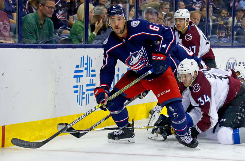 COLUMBUS, OH - OCTOBER 9: Adam Clendening #6 of the Columbus Blue Jackets controls the puck during the game against the Colorado Avalanche on October 9, 2018 at Nationwide Arena in Columbus, Ohio. Columbus defeated Colorado 5-2. (Photo by Kirk Irwin/Getty Images)