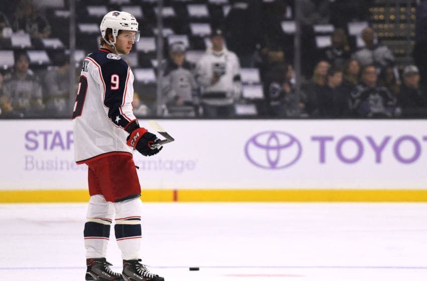 LOS ANGELES, CA - NOVEMBER 03: Artemi Panarin #9 of the Columbus Blue Jackets warms up before the game against the Los Angeles Kings at Staples Center on November 3, 2018 in Los Angeles, California. (Photo by Harry How/Getty Images)