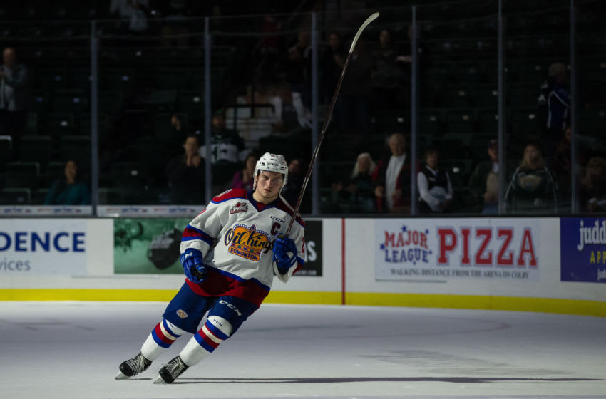 EVERETT, WA - OCTOBER 12: Edmonton Oil Kings forward Trey Fix-Wolansky (27) accepts the game's second award star after a game between the Everett Silvertips and the Edmonton Oil Kings on October 12, 2018 at Angel of the Winds Arena in Everett, WA. (Photo by Christopher Mast/Icon Sportswire via Getty Images)