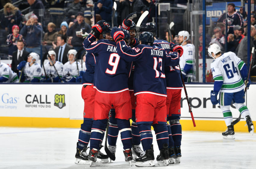 COLUMBUS, OH - DECEMBER 11: The Columbus Blue Jackets celebrate a first period goal during a game against the Vancouver Canucks on December 11, 2018 at Nationwide Arena in Columbus, Ohio. (Photo by Jamie Sabau/NHLI via Getty Images)