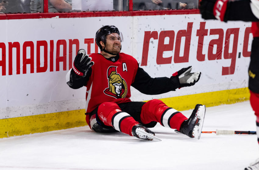 OTTAWA, ON - DECEMBER 29: Ottawa Senators Right Wing Mark Stone (61) looks for a call during second period National Hockey League action between the Washington Capitals and Ottawa Senators on December 29, 2018, at Canadian Tire Centre in Ottawa, ON, Canada. (Photo by Richard A. Whittaker/Icon Sportswire via Getty Images)