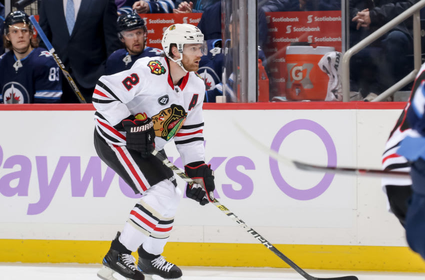 WINNIPEG, MB - NOVEMBER 29: Duncan Keith #2 of the Chicago Blackhawks follows the play down the ice during first period action against the Winnipeg Jets at the Bell MTS Place on November 29, 2018 in Winnipeg, Manitoba, Canada. The Jets defeated the Hawks 6-5. (Photo by Jonathan Kozub/NHLI via Getty Images)