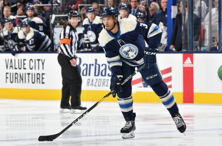 COLUMBUS, OH - DECEMBER 4: Seth Jones #3 of the Columbus Blue Jackets skates against the Calgary Flames on December 4, 2018 at Nationwide Arena in Columbus, Ohio. (Photo by Jamie Sabau/NHLI via Getty Images)