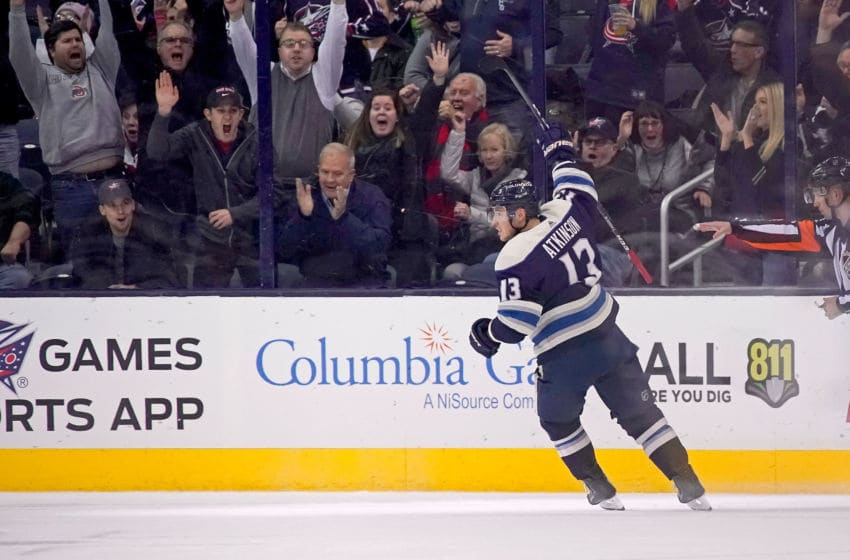 COLUMBUS, OH - DECEMBER 4: Cam Atkinson #13 of the Columbus Blue Jackets celebrates after scoring a goal during the game against the Calgary Flames on December 4, 2018 at Nationwide Arena in Columbus, Ohio. (Photo by Kirk Irwin/Getty Images)