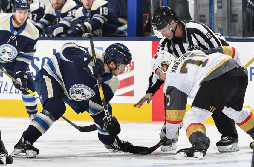 COLUMBUS, OH - DECEMBER 17: Alexander Wennberg #10 of the Columbus Blue Jackets takes a face off against William Karlsson #71 of the Vegas Golden Knights on December 17, 2018 at Nationwide Arena in Columbus, Ohio. (Photo by Jamie Sabau/NHLI via Getty Images)