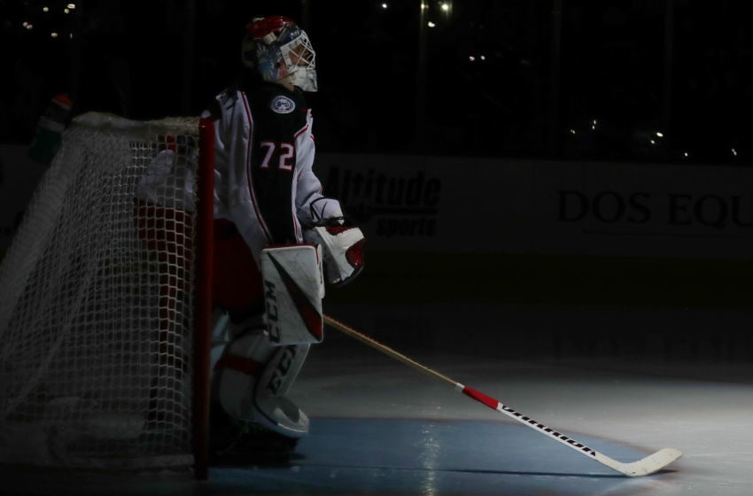 DENVER, CO - FEBRUARY 5: Goaltender Sergei Bobrovsky #72 of the Columbus Blue Jackets stands in goal prior to the start of the 3rd period against the Colorado Avalanche at the Pepsi Center on February 5, 2019 in Denver, Colorado. The Blue Jackets defeated the Avalanche 6-3. (Photo by Michael Martin/NHLI via Getty Images)