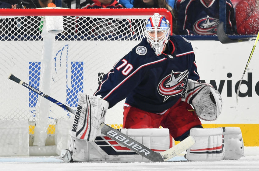 COLUMBUS, OH - JANUARY 15: Goaltender Joonas Korpisalo #70 of the Columbus Blue Jackets defends the net against the New Jersey Devils on January 15, 2019 at Nationwide Arena in Columbus, Ohio. (Photo by Jamie Sabau/NHLI via Getty Images)