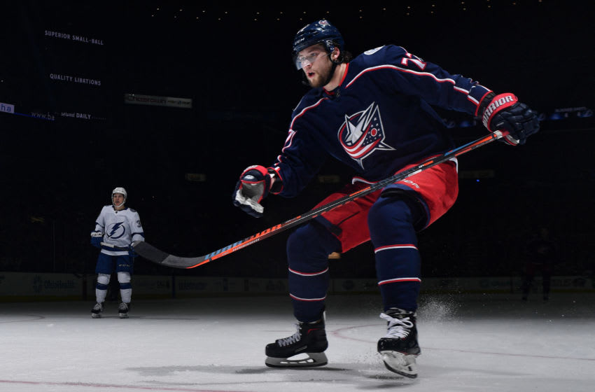 COLUMBUS, OH - FEBRUARY 18: Josh Anderson #77 of the Columbus Blue Jackets skates against the Tampa Bay Lightning on February 18, 2019 at Nationwide Arena in Columbus, Ohio. (Photo by Jamie Sabau/NHLI via Getty Images)