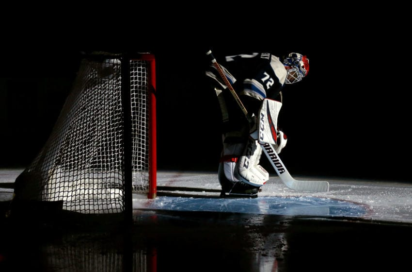 COLUMBUS, OH - FEBRUARY 26: Sergei Bobrovsky #72 of the Columbus Blue Jackets is introduced to the crowd prior to the start of the game against the Pittsburgh Penguins on February 26, 2019 at Nationwide Arena in Columbus, Ohio. (Photo by Kirk Irwin/Getty Images)