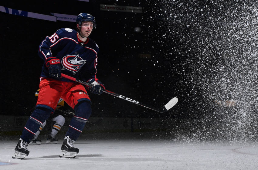 COLUMBUS, OH - MARCH 9: Matt Duchene #95 of the Columbus Blue Jackets skates against the Pittsburgh Penguins on March 9, 2019 at Nationwide Arena in Columbus, Ohio. (Photo by Jamie Sabau/NHLI via Getty Images)