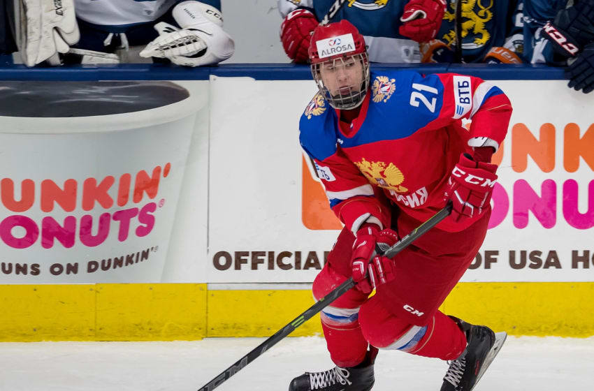 PLYMOUTH, MI - FEBRUARY 14: Kirill Marchenko #21 of the Russian Nationals controls the puck against the Finland Nationals during the 2018 Under-18 Five Nations Tournament game at USA Hockey Arena on February 14, 2018 in Plymouth, Michigan. Russia defeated Finland 4-0. (Photo by Dave Reginek/Getty Images)*** Local Caption *** Kirill Marchenko