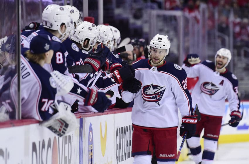 WASHINGTON, DC - APRIL 21: Oliver Bjorkstrand #28 of the Columbus Blue Jackets celebrates after scoring a third period goal against the Washington Capitals in Game Five of the Eastern Conference First Round during the 2018 NHL Stanley Cup Playoffs at Capital One Arena on April 21, 2018 in Washington, DC. (Photo by Patrick McDermott/NHLI via Getty Images)
