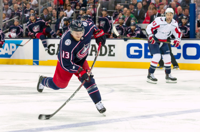 COLUMBUS, OH - APRIL 23: Columbus Blue Jackets right wing Cam Atkinson (13) attempts a shot on goal during game 6 in the first round of the Stanley Cup Playoffs at Nationwide Arena in Columbus, Ohio on April 23, 2018. (Photo by Adam Lacy/Icon Sportswire via Getty Images)