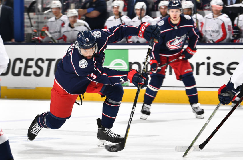 COLUMBUS, OH - APRIL 23: Seth Jones #3 of the Columbus Blue Jackets skates against the Washington Capitals in Game Six of the Eastern Conference First Round during the 2018 NHL Stanley Cup Playoffs on April 23, 2018 at Nationwide Arena in Columbus, Ohio. (Photo by Jamie Sabau/NHLI via Getty Images) *** Local Caption *** Seth Jones