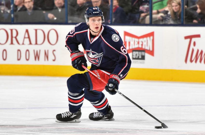 COLUMBUS, OH - MARCH 10: Markus Nutivaara #65 of the Columbus Blue Jackets skates against the Buffalo Sabres on March 10, 2017 at Nationwide Arena in Columbus, Ohio. (Photo by Jamie Sabau/NHLI via Getty Images)