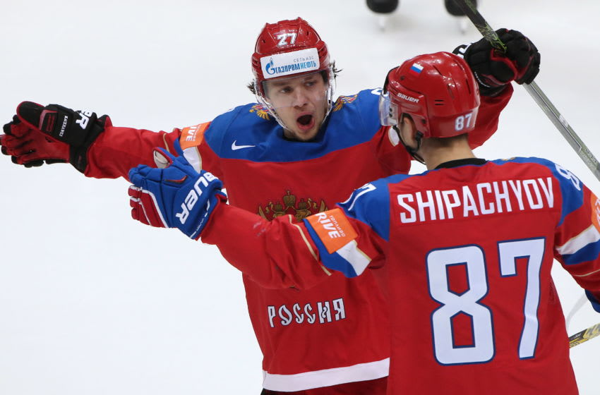 Russia's Artemy Panarin (L) and Vadim Shipachyov celebrate scoring in their 2016 IIHF World Championship quarter-final ice hockey match against Germany at VTB Ice Palace in Moscow, Russia, May 19, 2016. Artyom Korotayev/TASS (Photo by Artyom KorotayevTASS via Getty Images)