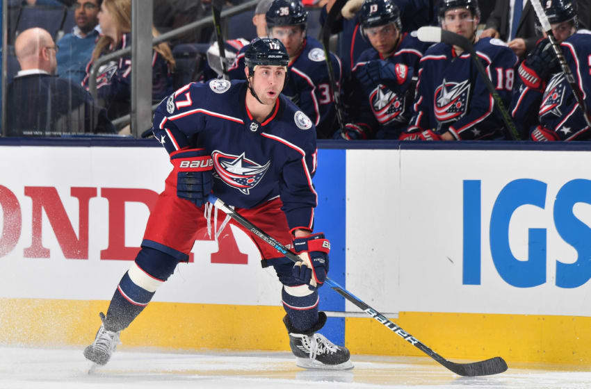COLUMBUS, OH - OCTOBER 25: Brandon Dubinsky #17 of the Columbus Blue Jackets skates against the Buffalo Sabres on October 25, 2017 at Nationwide Arena in Columbus, Ohio. (Photo by Jamie Sabau/NHLI via Getty Images)