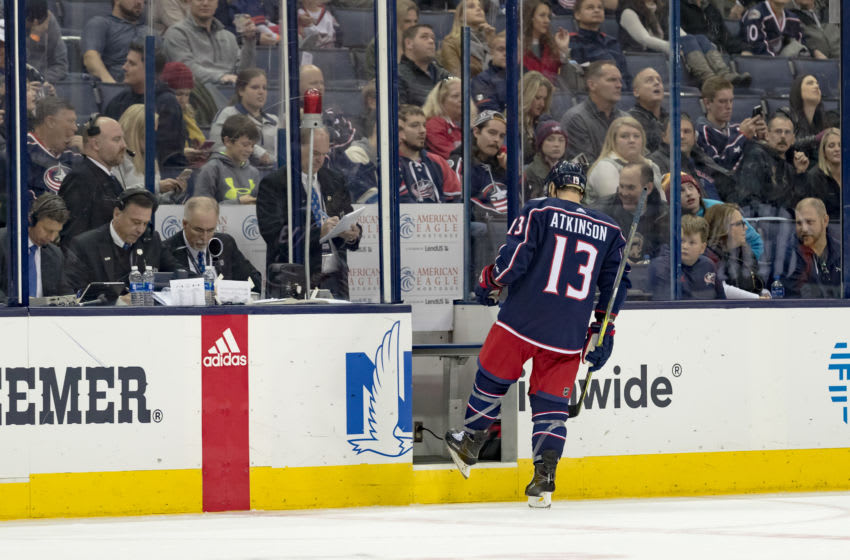 COLUMBUS, OH - DECEMBER 01: Columbus Blue Jackets right wing Cam Atkinson (13) enters the penalty box during the third period in a game between the Columbus Blue Jackets and the Anaheim Ducks on December 01, 2017, at Nationwide Arena in Columbus, OH.(Photo by Adam Lacy/Icon Sportswire via Getty Images)