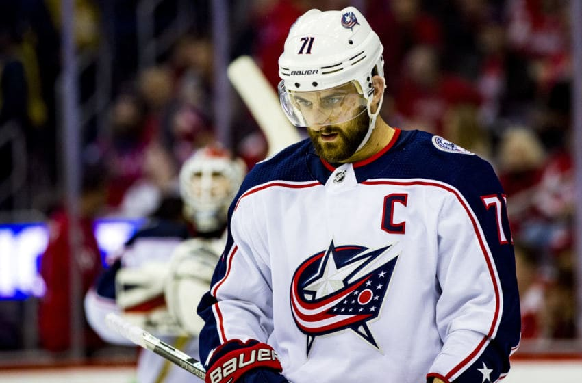 WASHINGTON, DC - APRIL 21: Columbus Blue Jackets left wing Nick Foligno (71) during a pause in the action during the first round Stanley Cup playoff game 5 between the Washington Capitals and the Columbus Blue Jackets on April 21, 2018, at Capital One Arena, in Washington, D.C. The Capitals defeated the Blue Jackets 4-3 in overtime. (Photo by Tony Quinn/Icon Sportswire via Getty Images)