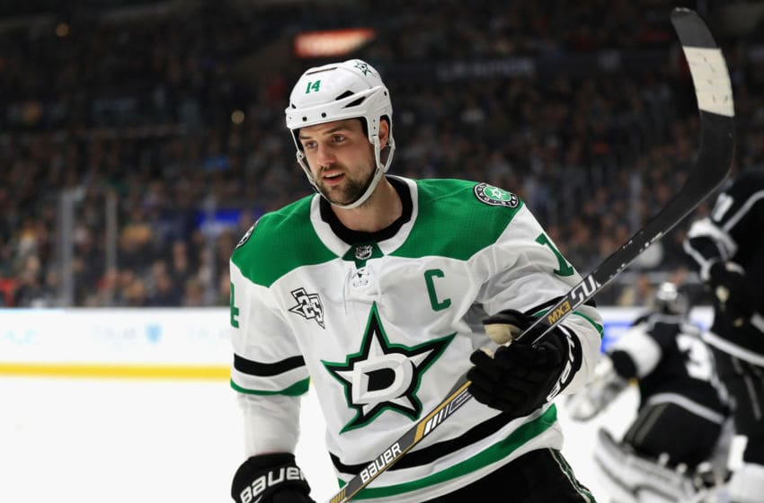 LOS ANGELES, CA - APRIL 07: Jamie Benn #14 of the Dallas Stars looks on after scoring a goal during the first period of a game against the Los Angeles Kings at Staples Center on April 7, 2018 in Los Angeles, California. (Photo by Sean M. Haffey/Getty Images)