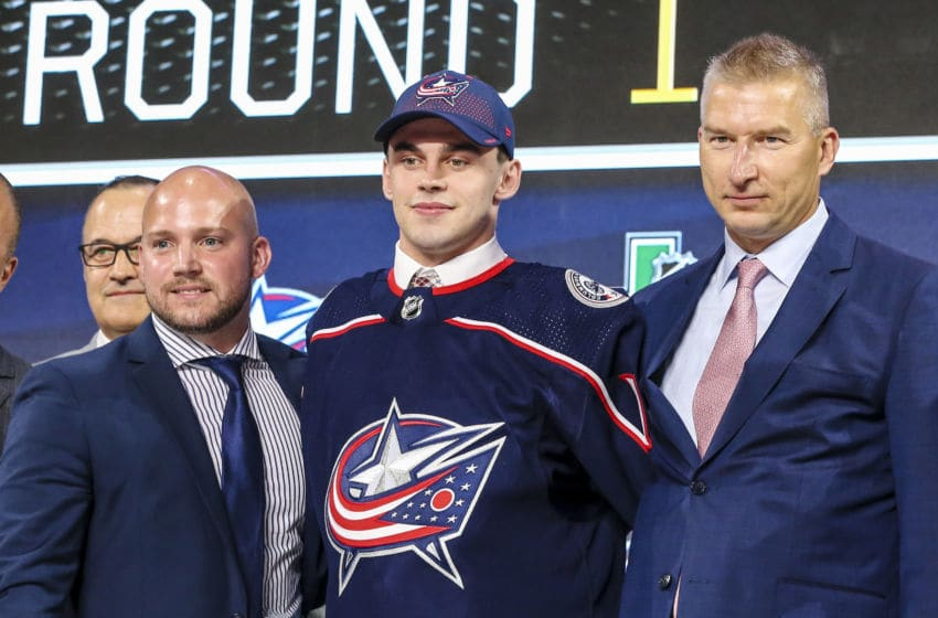 DALLAS, TX - JUNE 22: The Columbus Blue Jackets draft Liam Foudy in the first round of the 2018 NHL draft on June 22, 2018 at the American Airlines Center in Dallas, Texas. (Photo by Matthew Pearce/Icon Sportswire via Getty Images)