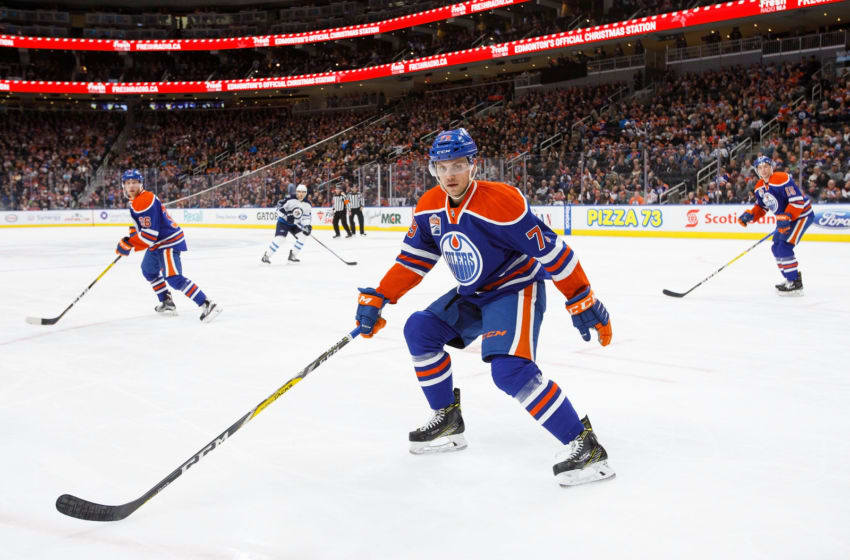 EDMONTON, AB - DECEMBER 11: Dillon Simpson #79 of the Edmonton Oilers skates against the Winnipeg Jets on December 11, 2016 at Rogers Place in Edmonton, Alberta, Canada. (Photo by Codie McLachlan/Getty Images)