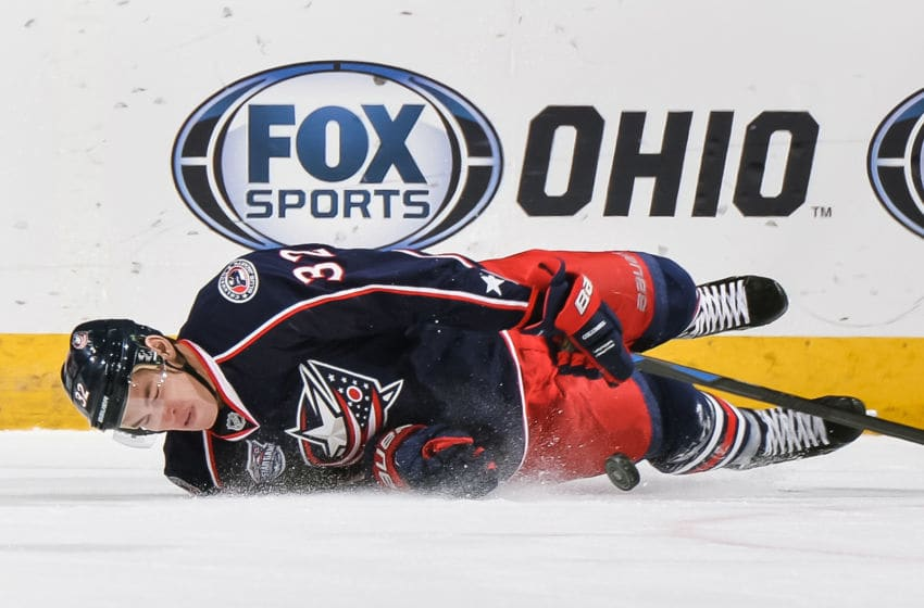 COLUMBUS, OH - DECEMBER 1: Adam Cracknell #32 of the Columbus Blue Jackets lays down to block a shot against the Florida Panthers on December 1, 2014 at Nationwide Arena in Columbus, Ohio. (Photo by Jamie Sabau/NHLI via Getty Images)