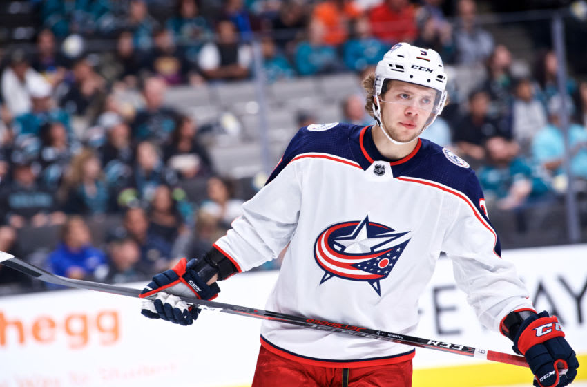SAN JOSE, CA - NOVEMBER 01: Columbus Blue Jackets left wing Artemi Panarin (9) during the San Jose Sharks game versus the Columbus Blue Jackets on November 1, 2018, at SAP Center in San Jose, CA (Photo by Matt Cohen/Icon Sportswire via Getty Images)