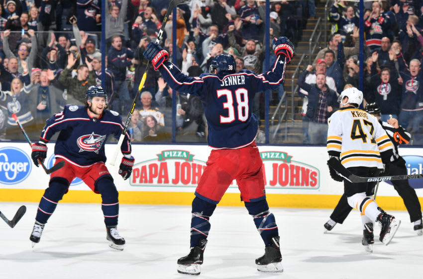 COLUMBUS, OH - MARCH 12: Boone Jenner #38 of the Columbus Blue Jackets reacts after scoring a goal during the first period of a game against the Boston Bruins on March 12, 2019 at Nationwide Arena in Columbus, Ohio. (Photo by Jamie Sabau/NHLI via Getty Images)